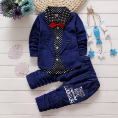 2019 Baby Boys Autumn Casual Clothing Set Baby Kids Button Letter Bow Clothing Sets dark blue 90cm