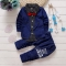 2019 Baby Boys Autumn Casual Clothing Set Baby Kids Button Letter Bow Clothing Sets dark blue 80cm