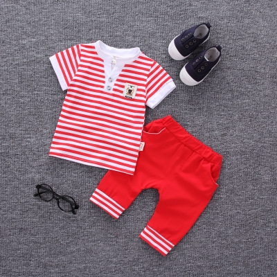 2017 Summer new fashion baby boys clothes set cotton material with striped print infant clothing set red l
