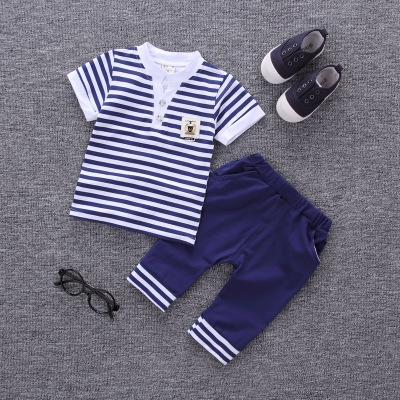 2017 Summer new fashion baby boys clothes set cotton material with striped print infant clothing set dark blue xl