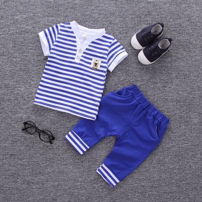 2017 Summer new fashion baby boys clothes set cotton material with striped print infant clothing set blue xl
