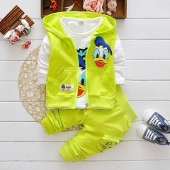 2018 Boys Clothes Suits Cartoon Donald Duck Baby Kids Boys Outerwear Hoodie Jacket Baby Sport suits yellow 100cm