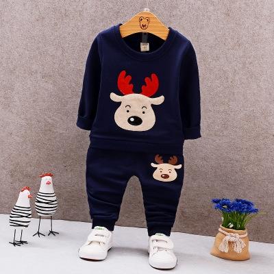 Christmas Costume Autumn Long Sleeve Boys Clothing Sets Fashion Elk Kids Clothes for Boys dark blue 100cm