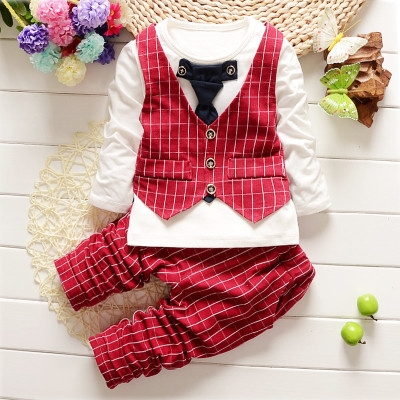 New autumn spring baby boys clothing sets lattice tops + pants sport suit for infant boy tracksuits red L