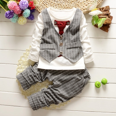 New autumn spring baby boys clothing sets lattice tops + pants sport suit for infant boy tracksuits gey M