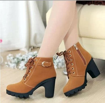 2018 New Autumn Winter Women Boots High Quality Solid Lace-up European Ladies shoes brown uk2.5