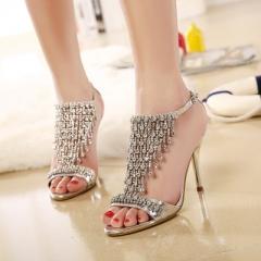 2017 Summer Women's Luxury Rhinestones Sandals Sexy Elegant Thin High Heels Wedding Party Shoes silver uk4