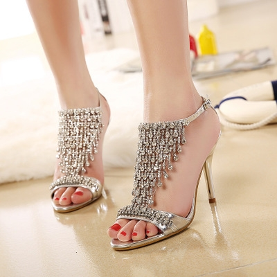 2017 Summer Women's Luxury Rhinestones Sandals Sexy Elegant Thin High Heels Wedding Party Shoes silver uk2.5