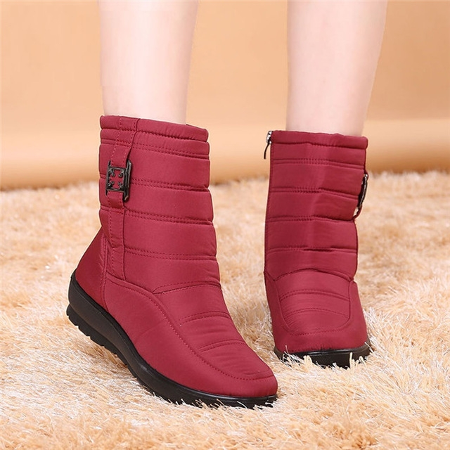 Women Winter Boots Female Zipper Down Snow Puff Ankle Boots Waterproof Flexible Plush Shoes red uk5.5
