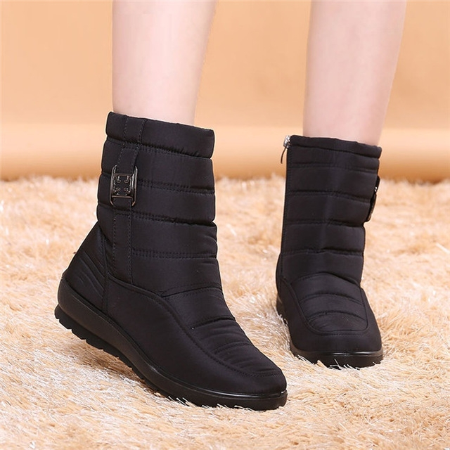 Women Winter Boots Female Zipper Down Snow Puff Ankle Boots Waterproof Flexible Plush Shoes black uk4.5