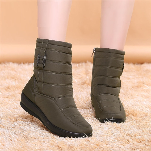 Women Winter Boots Female Zipper Down Snow Puff Ankle Boots Waterproof Flexible Plush Shoes army green uk2.5