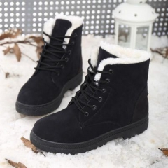 2017 new arrival women winter boots warm snow boots fashion platform shoes women ankle boots black 35