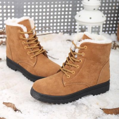 2017 new arrival women winter boots warm snow boots fashion platform shoes women ankle boots brown uk2.5