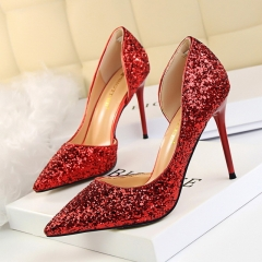 Women Pumps Bling High Heels Women Pumps Glitter High Heel Shoes Woman Sexy Wedding Party Shoes red 35