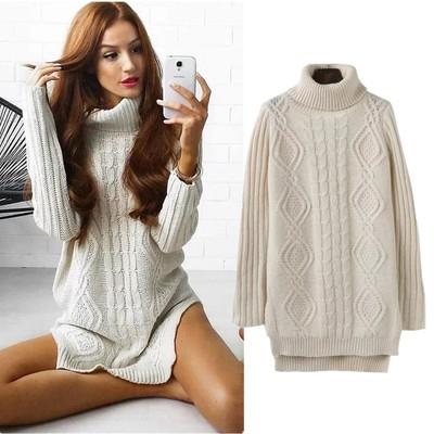 ca7aa8fdf3b4 Warm High Neck Twist Knitted Pullover Sweater Dress Women Side Split ...