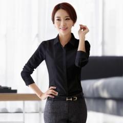 2017 Summer Style Chiffon Blouse Women Shirts Long Sleeve Turn Down Collar White Ladies Shirt black s
