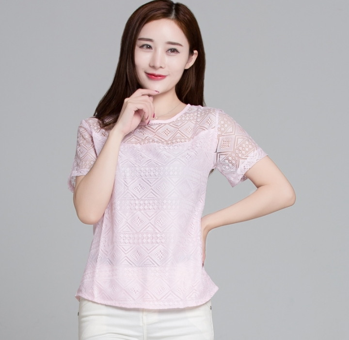 a0a0831d42d White Blouse Lace Chiffon Short Sleeve shirts Korean Hollow Out Ladies  Shirt Office Female Clothing pink