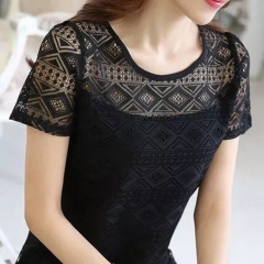 White Blouse Lace Chiffon Short Sleeve shirts Korean Hollow Out Ladies Shirt Office Female Clothing black s