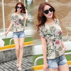 2018 Fashion Floral Print Women's Blouses ladies Shirts Summer Tops Casual Plus Size blouse shirt beige s