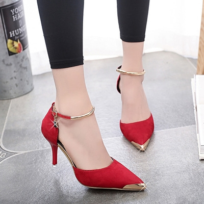 2017 Fashion Hot Women Suede Pumps Sexy High Heels Pointed Toe Thin Heel Ladies Wedding Shoes red uk2.5