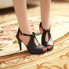 2019 New Arrival Hot Fashion Office Summer Women Pumps High Heel Sandals Casual Women Shoes black 35