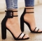 2018 Fashion Hot Women Sandals Thick High Heels Shoes Sexy Transparent Ankle Sandals for Ladies black 34