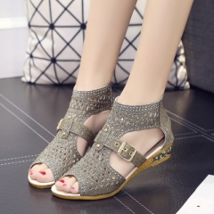 2017 Hot Women Sandals Open Toe Ankle Boots Sandal Woman Crystal Sandalias Bling Wedges Summer Shoes gold 37