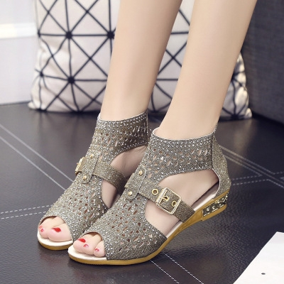 4efbe48c6ee0 ... Open Toe Ankle Boots Sandal Woman Crystal Sandalias Bling Wedges Summer  Shoes gold 38  Product No  1081678. Item specifics  Seller SKU h181  Brand