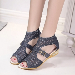 2018 Hot Women Sandals Open Toe Ankle Boots Sandal Woman Crystal Sandalias Bling Wedges Summer Shoes black 40
