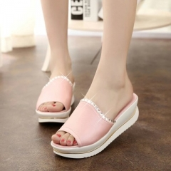 2017 Fashion Summer Girl PU Leather Sandals Slides Women Slippers Wedges Platform Shoes with Crystal pink 35