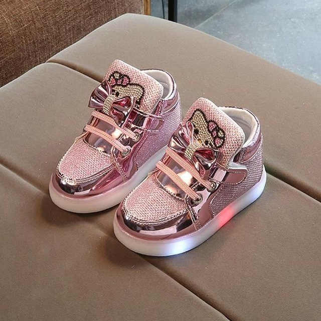 2019 New Spring Children's Sneakers Chaussure Enfant Hello Kitty Girls Flat Shoe With LED Light pink 26