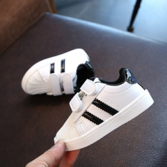 2017 New Baby Sports Kids shoes children Casual boys and girls Sneaker Fashion Pu leather shoes black 23