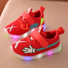 2017 Breathable sneakers shoes children Casual boys and girls luminous lighting glowing LED shoes red 22