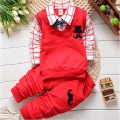 2017 New spring autumn baby boys clothing set cotton boys t-shirts+pants sport suit set red 80cm