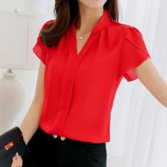 2018 Women Shirt Chiffon Blusas Femininas Tops Elegant Ladies Formal Office Blouse Chiffon shirt red m