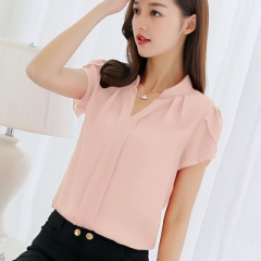 2018 Women Shirt Chiffon Blusas Femininas Tops Elegant Ladies Formal Office Blouse Chiffon shirt pink s