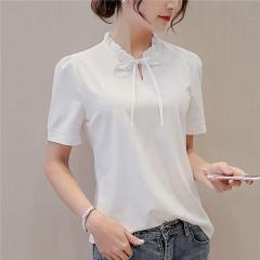 2017 Summer White Blouse New Fashion Women Short Sleeve Shirts Slim Casual Tops white s
