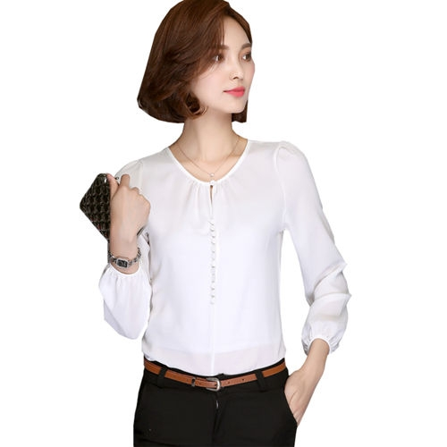 2018 Long Sleeve Blouse Shirt Women Clothing Autumn Korean Style Elegant Office Ladies Solid Tops white s