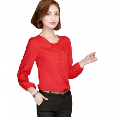 2017 Long Sleeve Blouse Shirt Women Clothing Autumn Korean Style Elegant Office Ladies Solid Tops red s