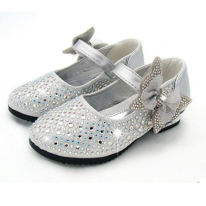 New Princess Children Princess Sandals Kids Girls Wedding Shoes Dress Shoes Girls Party Shoes Silver 30