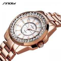 Fashion Women Diamonds Wrist Watches Imitation Ceramics Watchband  Dress Ladies Geneva Quartz Clock gold