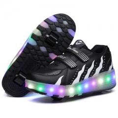 2017 Fashion Hot Luminous Shoes Kids Led shoes Boys Shoes with Wheels black 31