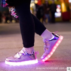 kids Luminous shoes USB Charger led lights shoes girls glowing sneakers children casual sports shoes purple 26