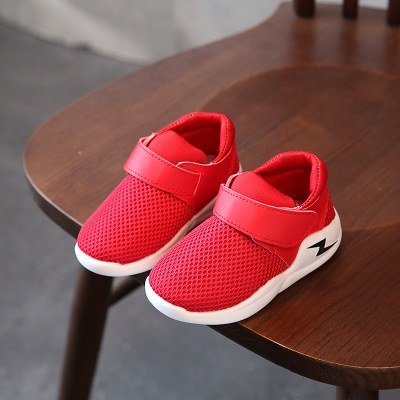 Casual Children Shoes Autumn Breathable Mesh Fashion Lightning Kids Sneakers For Boys Girls Shoes red 21
