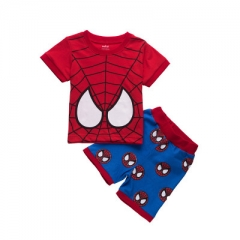 Boys Spiderman Short Sleeve Shirt And Shorts Children Sets Kids Summer Outfits Clothes Sets red 90cm