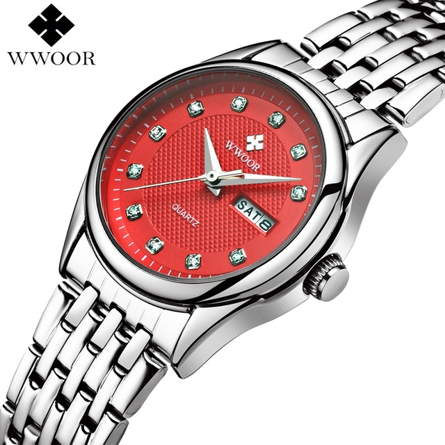 women Waterproof Watches Women Quartz Analog Date Clock Ladies Silver Stainless Steel Wrist Watch red