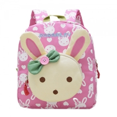 Lovely Cute Kids School Bags Rabbit Bear Dolls Applique Canvas Backpack Mini Baby Toddler Book Bag #01