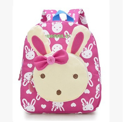 9e2719c38b9a Lovely Cute Kids School Bags Rabbit Bear Dolls Applique Canvas Backpack  Mini Baby Toddler Book Bag #04