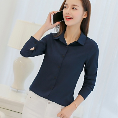 Hot sale Female Big Sizes long Sleeve Shirt Fashion Bodycon Leisure Chiffon Blouse Tops dark blue s