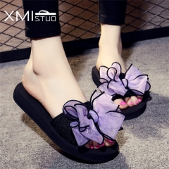 Summer Women cool Non-slip Slippers Classical Bow Sandals Outside Slides 3CM Low Heels Slippers purple 35
